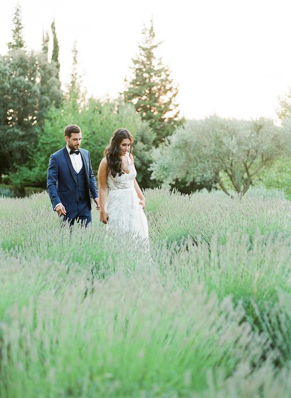 Lavander field wedding portraits