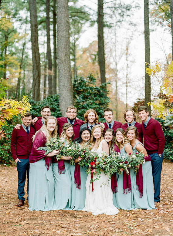 Winter wedding party portrait