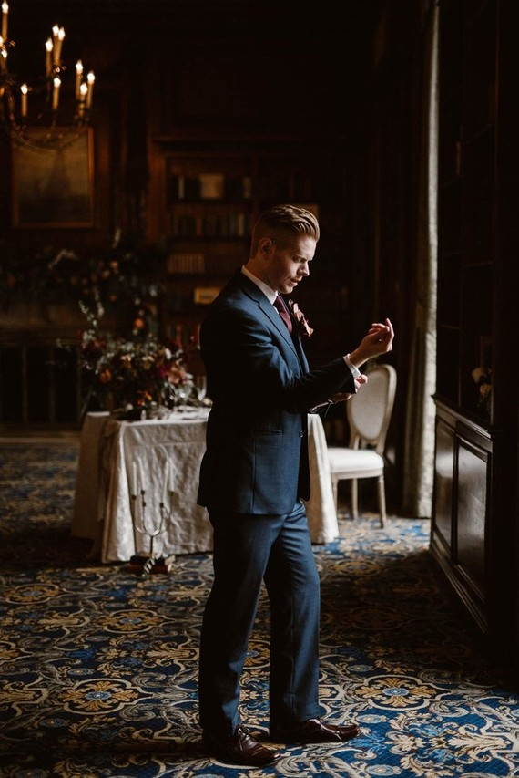 Moody groom's portrait