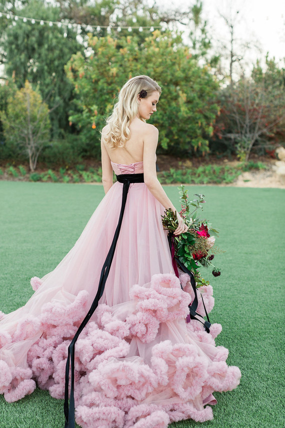 Pink + black wedding dress
