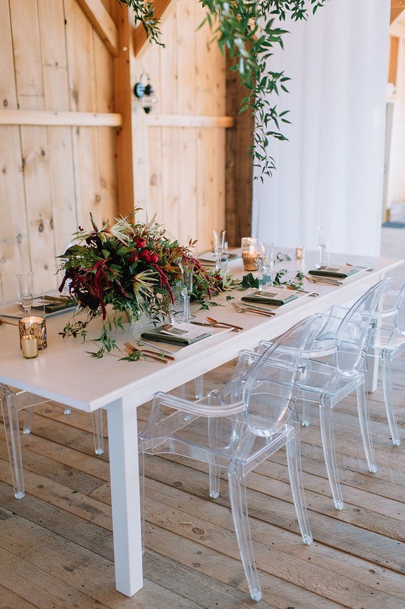 Modern winter tablescape