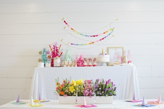 Spring floral unicorn birthday party