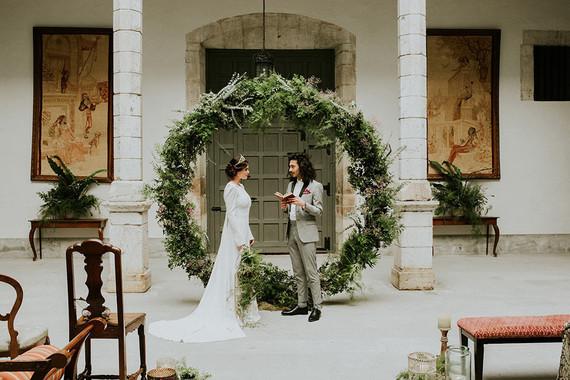 Wedding ceremony greenery