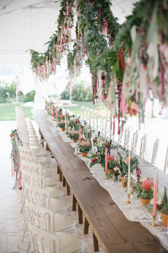Bohemian wedding reception