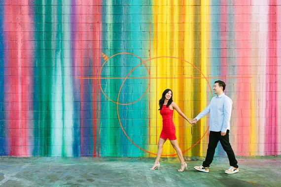 Colorful engagement portraits