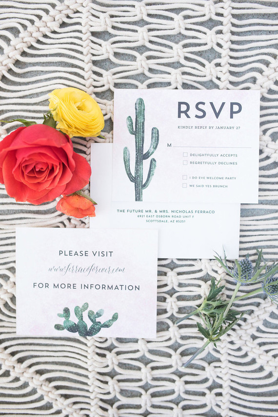 Cactus wedding invtations