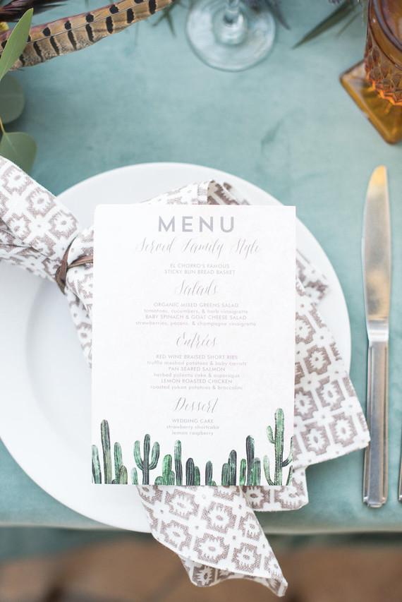 Cactus menu design