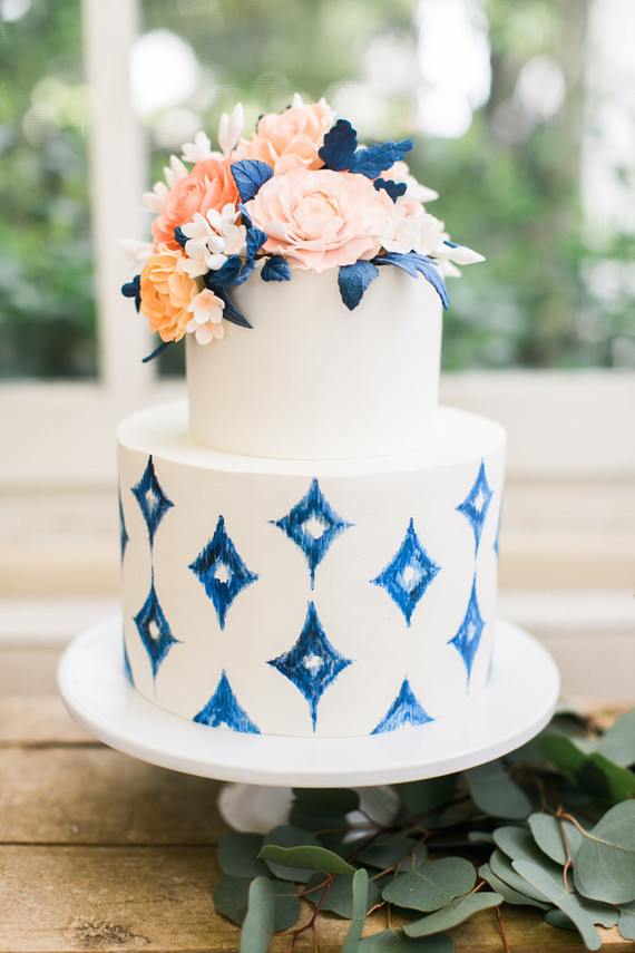 Ikat cake & Ikat and coral birthday party in Napa Valley - 100 Layer Cake