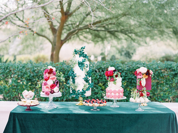 Jewel toned wedding cakes