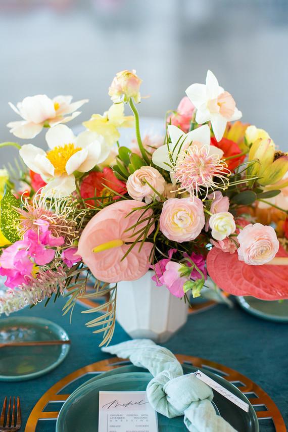 Coral floral arrangement