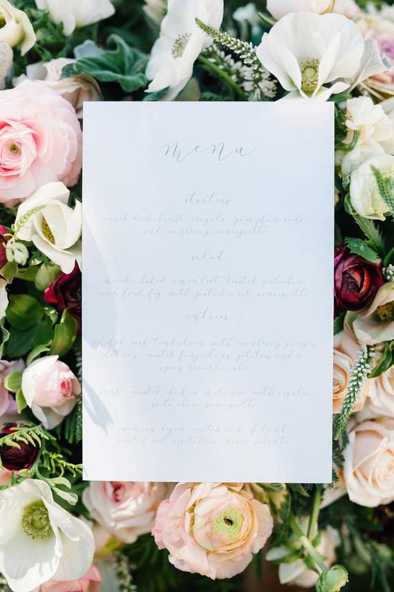 Calligraphy menu