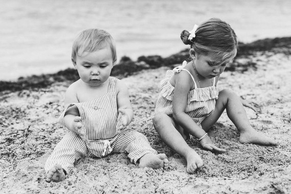 Summery matching sibling photos on the beach