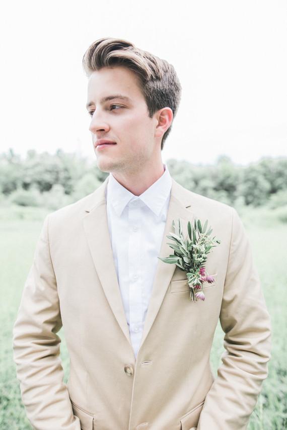 khaki groom's suit