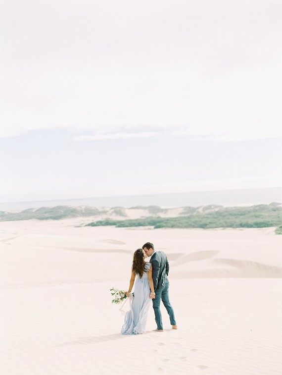 Pastel sand dune engagement photos