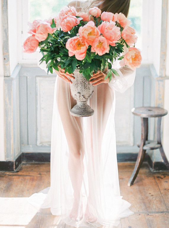 peonies for boudoir shoot