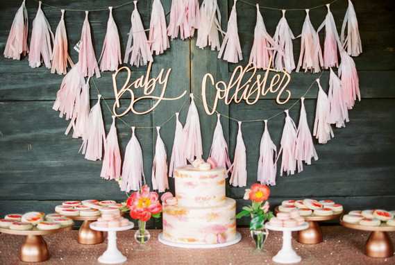 fringe garland baby shower decor