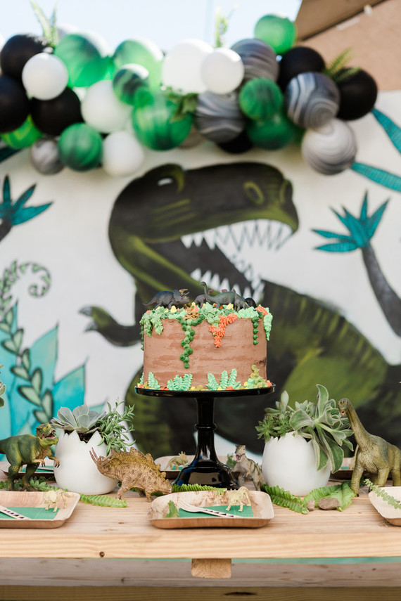 Modern prehistoric dinosaur 4th birthday