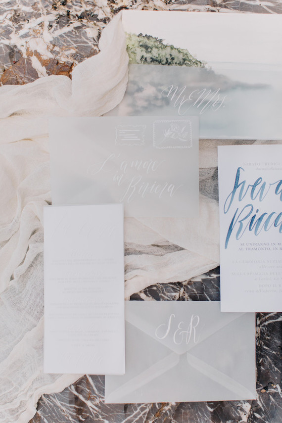Seaside inspired wedding invitations