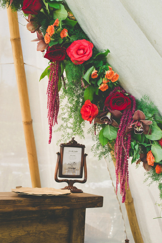 floral garland on teepee