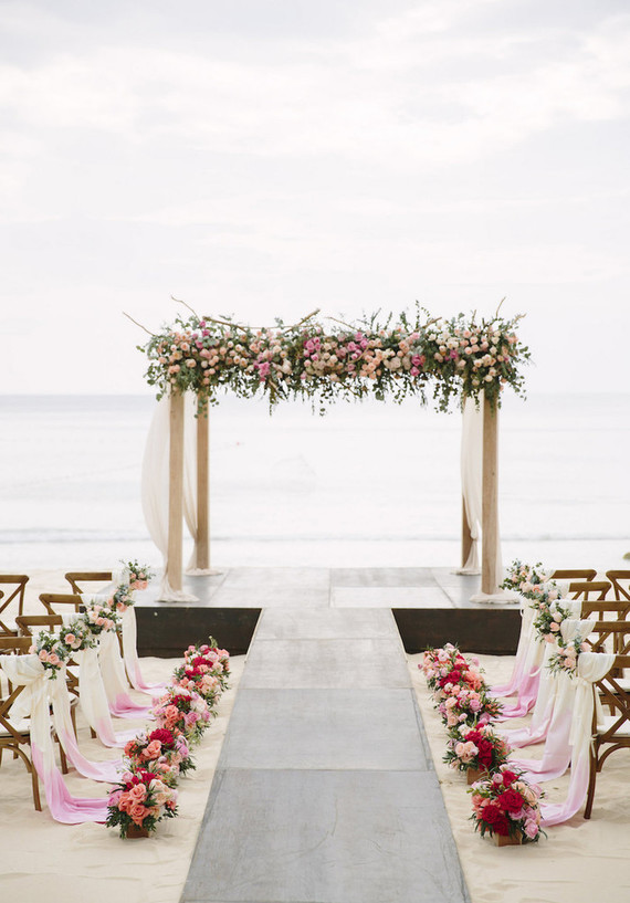Pink, watercolor-inspired beach wedding in Phuket, Thailand