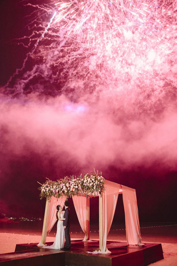 pink fireworks for wedding