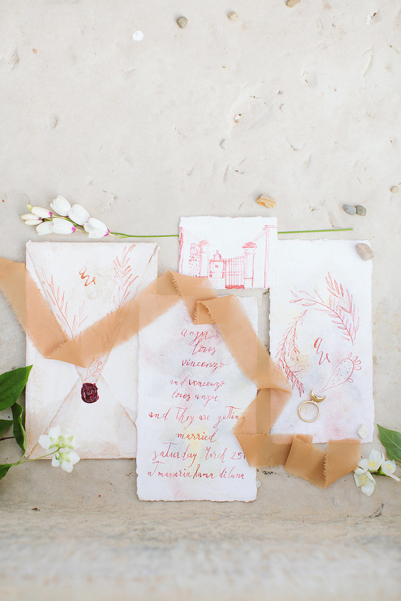 Handdrawn Italian wedding invitations