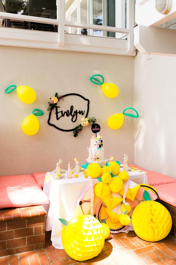 Modern whimsical lemonade stand 3rd birthday