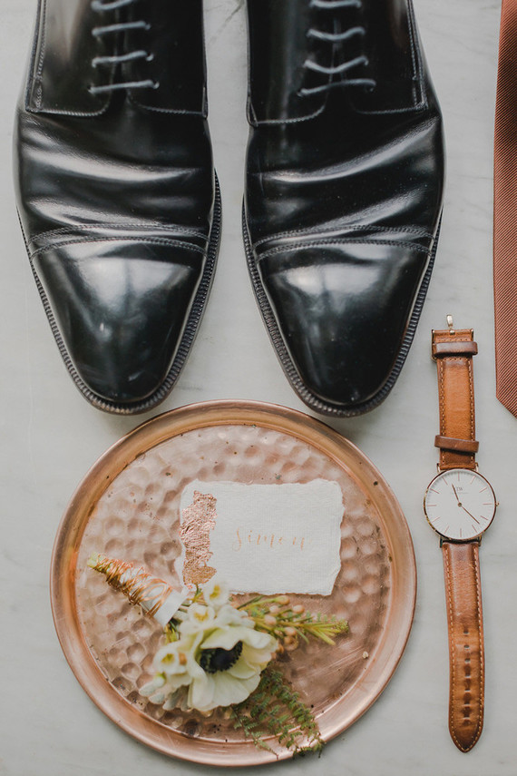 copper groom accessories