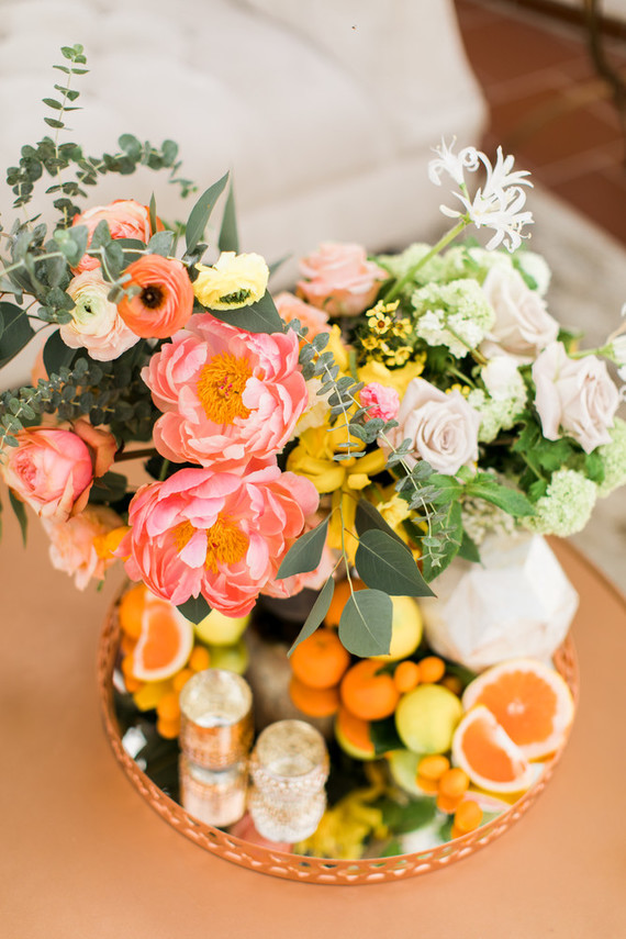Peach peony floral arrangement