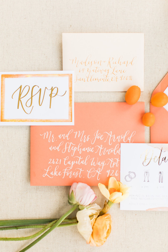 Coral wedding invites
