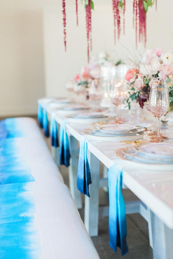 dip dyed blue wedding details