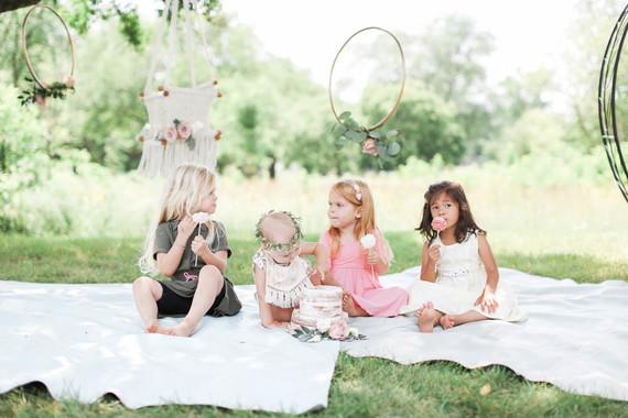 Feminine boho picnic 1st birthday