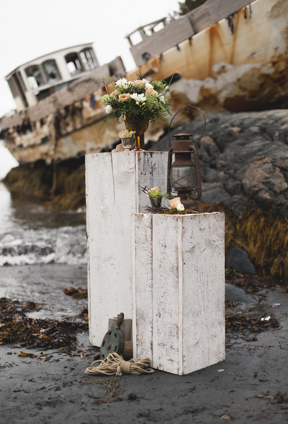 Moody shipwreck inspired wedding editorial