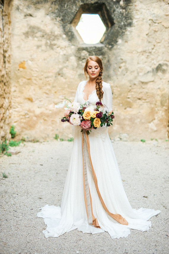 Romantic ruins bridal editorial at The Mission San Jose in Texas
