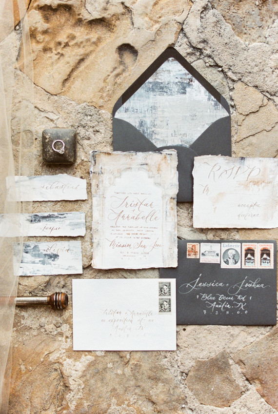 romantic ruins inspired wedding invitations
