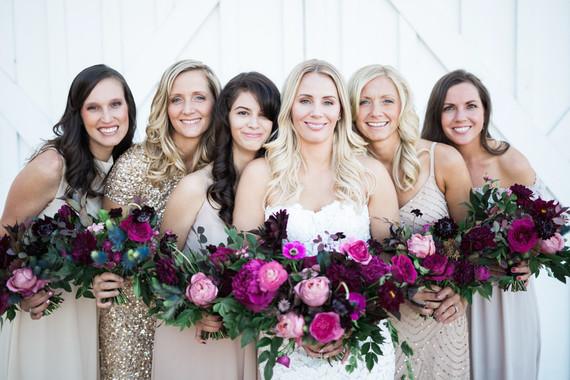 Bridesmaids in blush nude dresses