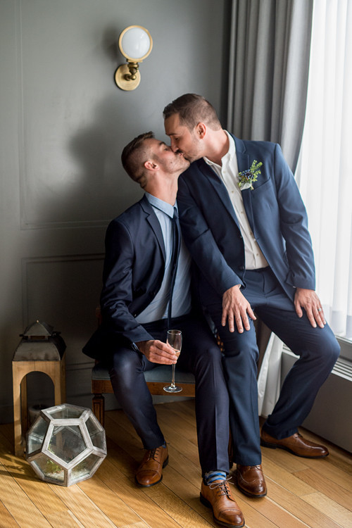 Modern industrial same sex wedding editorial