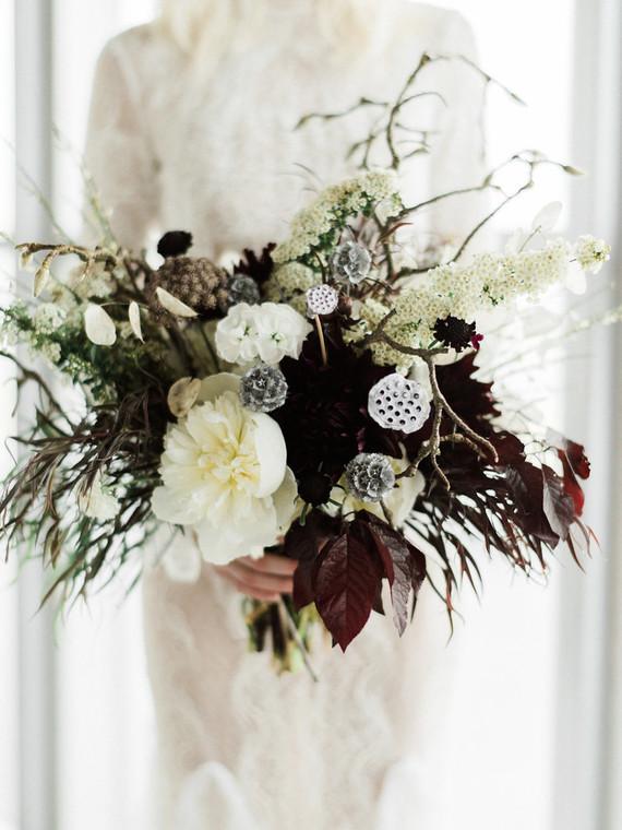 Dark wild wedding bouquet