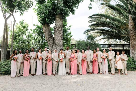 Tropical coral garden wedding party