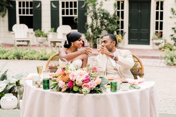 Tropical coral garden wedding