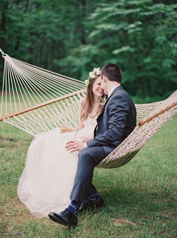 wedding portrait in a hammock