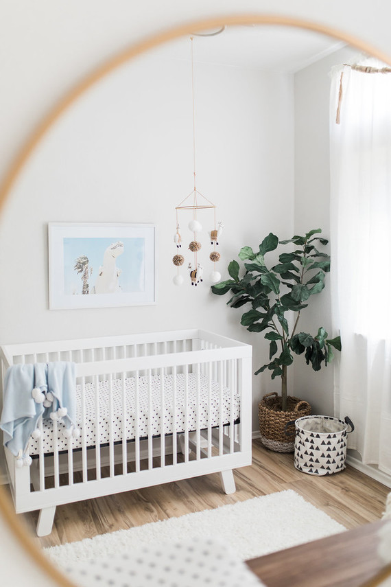 Minimalist Mid Century Nursery Natural Light Newborn