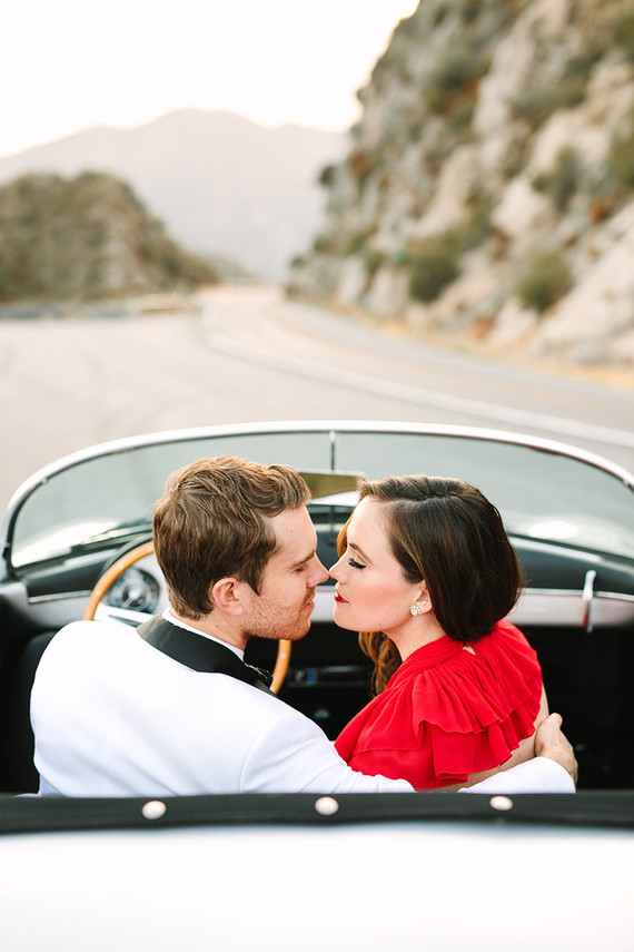 Vintage car engagement shoot