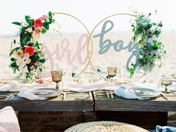 Beachy boho gender reveal party