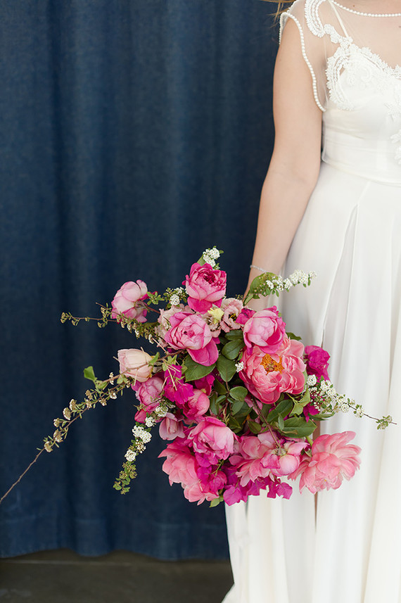 peony and bougainvillea bridal bouquet