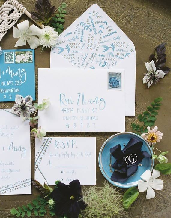 blue hand drawn invitations