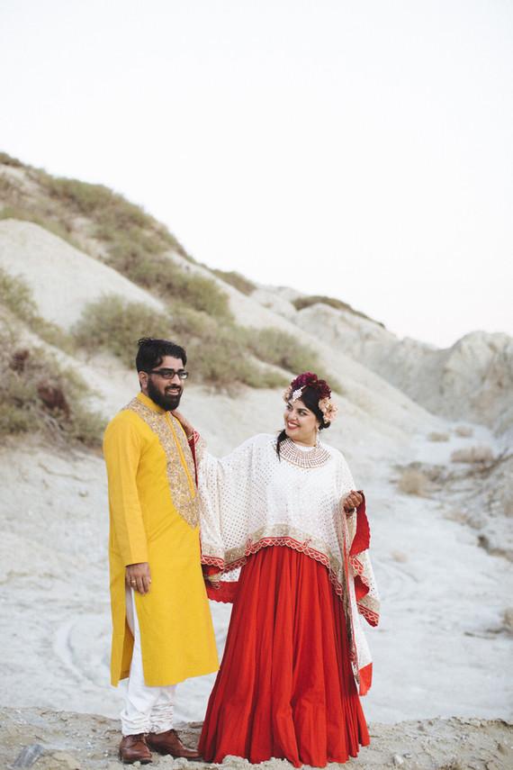 Modern desert Indian wedding celebration