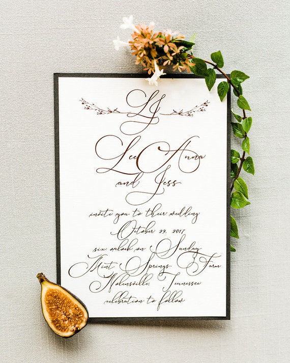 Elegant fall gold foil wedding invites