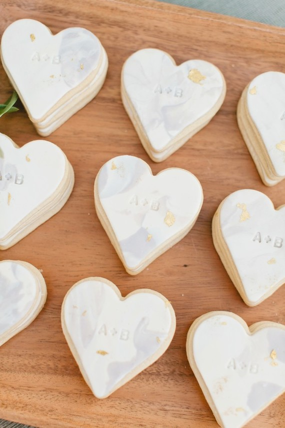 white heart wedding cookies