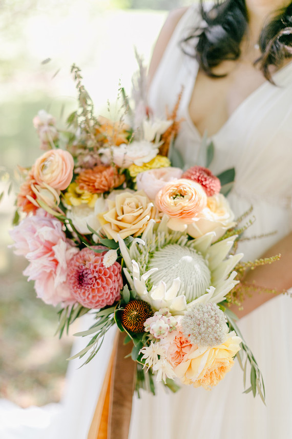 peach fall bridal bouquet